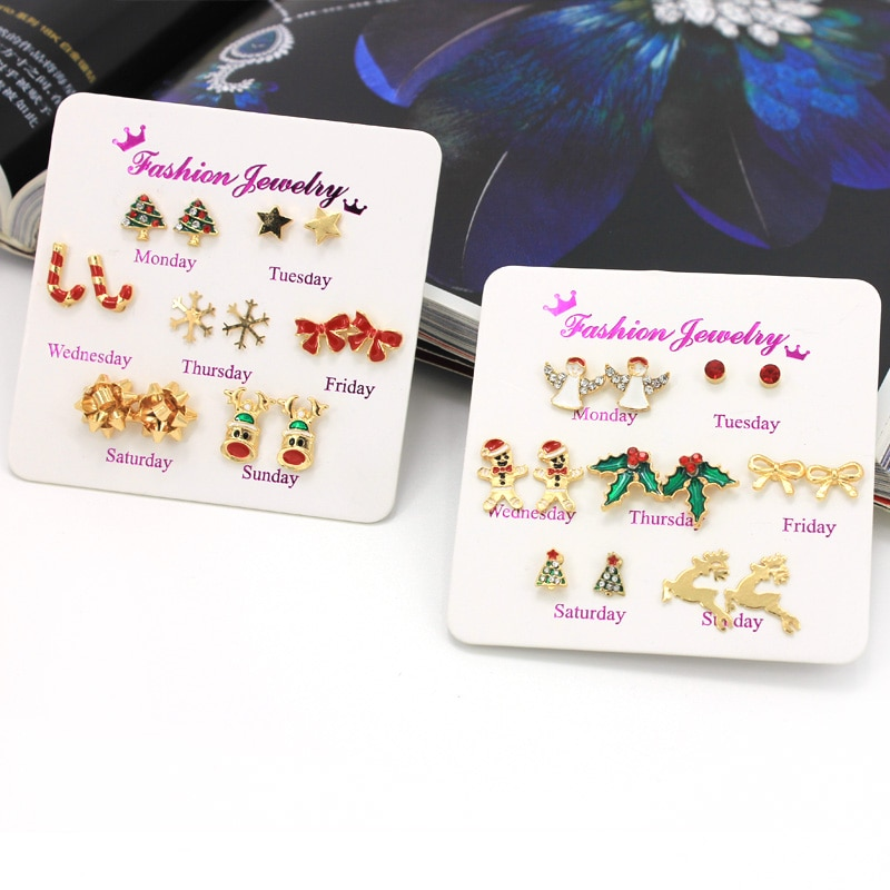 Christmas Earrings 7 Pairs Jewelry Clothing & Jewelry