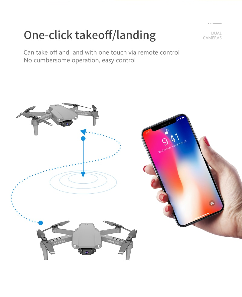 Remote control drone with phone takeoff/landing
