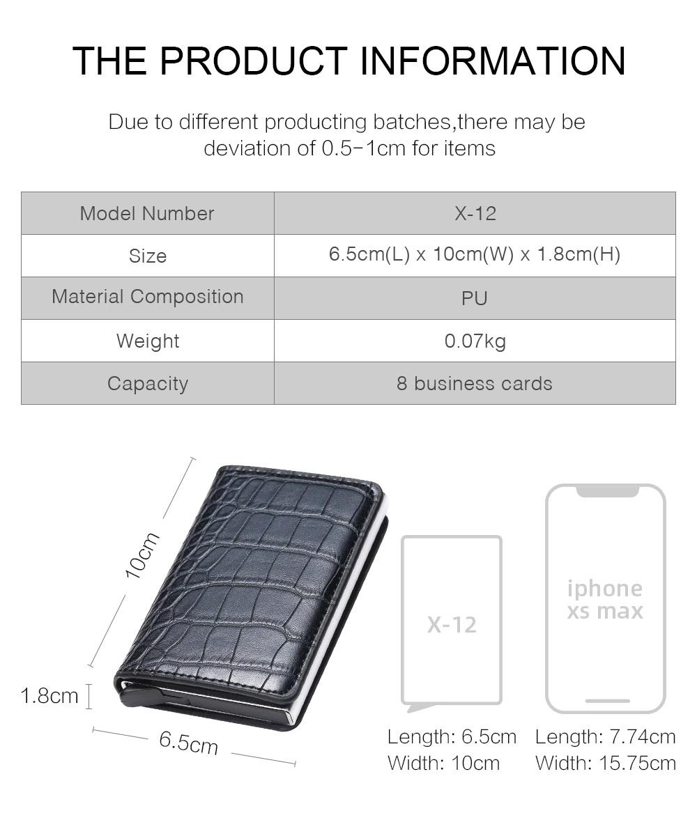 Smart wallet RFID Metal Leather Card Holder size