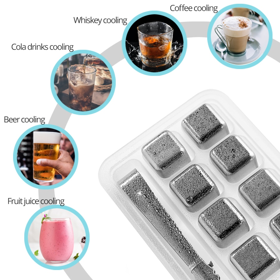 Stainless Steel Ice Cubes Reusable Chilling Stones for Whiskey Wine Best Sellers