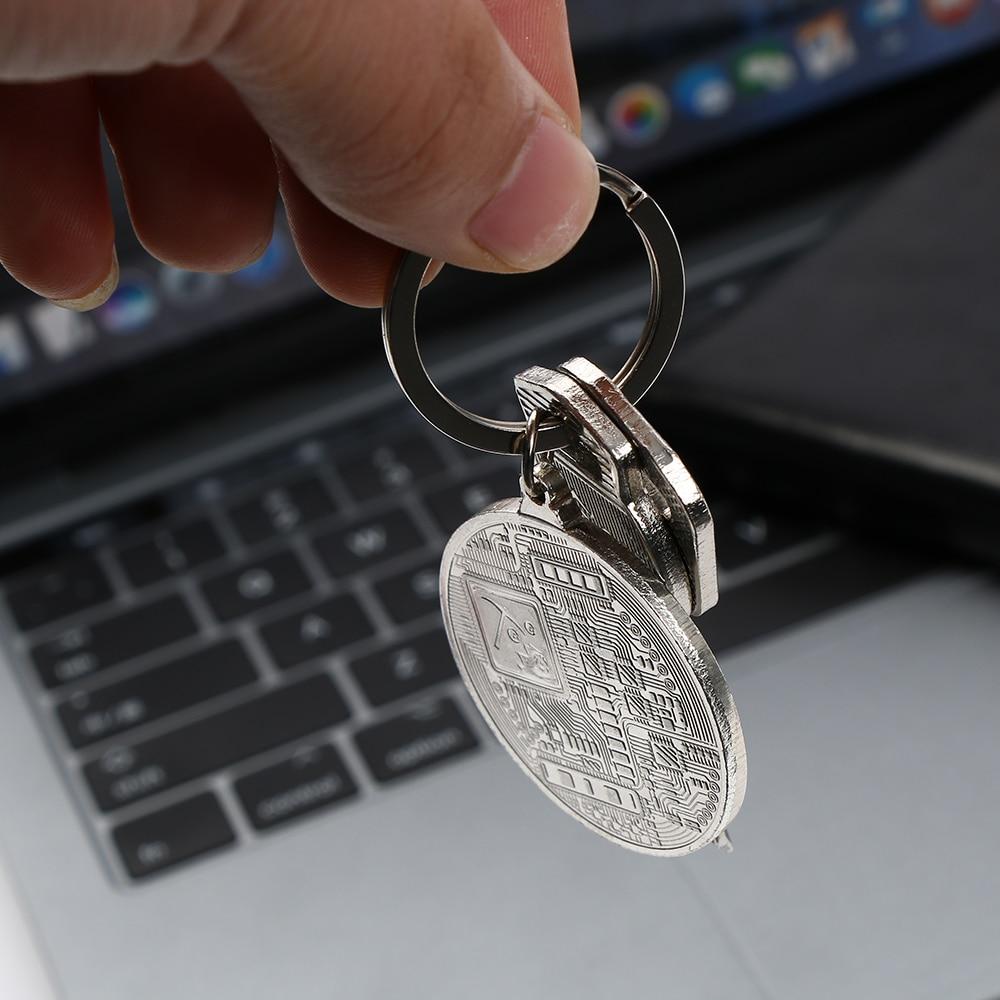 silver bitcoin keychain